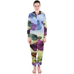 Butterfly Painting Art Graphic Hooded Jumpsuit (Ladies)