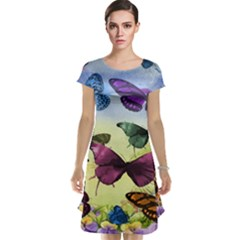 Butterfly Painting Art Graphic Cap Sleeve Nightdress