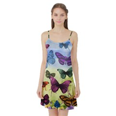 Butterfly Painting Art Graphic Satin Night Slip