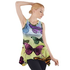 Butterfly Painting Art Graphic Side Drop Tank Tunic