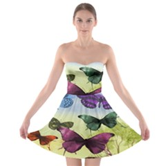 Butterfly Painting Art Graphic Strapless Bra Top Dress