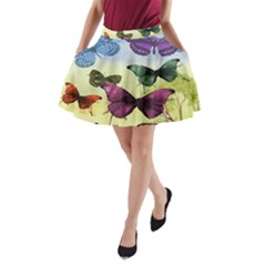 Butterfly Painting Art Graphic A-Line Pocket Skirt