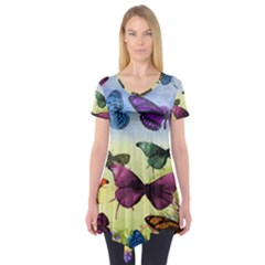 Butterfly Painting Art Graphic Short Sleeve Tunic