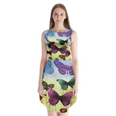 Butterfly Painting Art Graphic Sleeveless Chiffon Dress