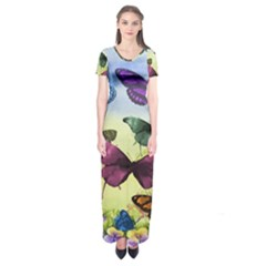 Butterfly Painting Art Graphic Short Sleeve Maxi Dress