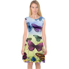Butterfly Painting Art Graphic Capsleeve Midi Dress