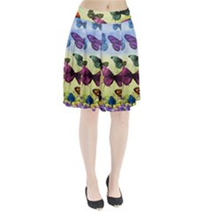 Butterfly Painting Art Graphic Pleated Skirt