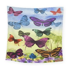 Butterfly Painting Art Graphic Square Tapestry (large)