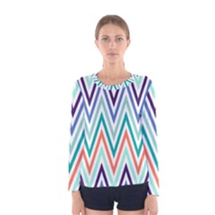 Chevrons Colourful Background Women s Long Sleeve Tee