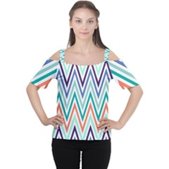 Chevrons Colourful Background Women s Cutout Shoulder Tee