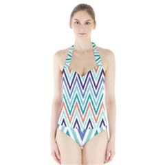 Chevrons Colourful Background Halter Swimsuit