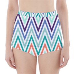 Chevrons Colourful Background High-Waisted Bikini Bottoms