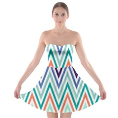 Chevrons Colourful Background Strapless Bra Top Dress
