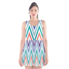 Chevrons Colourful Background Scoop Neck Skater Dress
