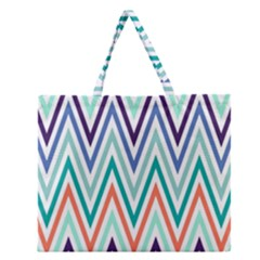Chevrons Colourful Background Zipper Large Tote Bag