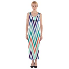 Chevrons Colourful Background Fitted Maxi Dress