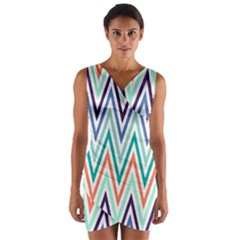 Chevrons Colourful Background Wrap Front Bodycon Dress