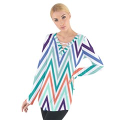 Chevrons Colourful Background Women s Tie Up Tee