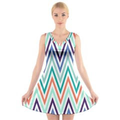 Chevrons Colourful Background V Neck Sleeveless Skater Dress