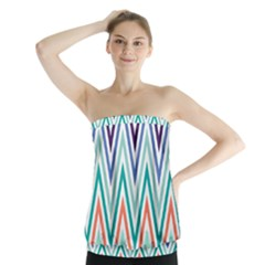 Chevrons Colourful Background Strapless Top