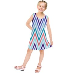 Chevrons Colourful Background Kids  Tunic Dress