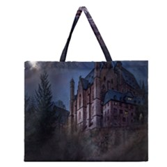 Castle Mystical Mood Moonlight Zipper Large Tote Bag