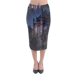 Castle Mystical Mood Moonlight Midi Pencil Skirt