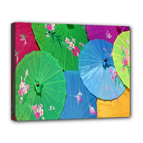 Chinese Umbrellas Screens Colorful Canvas 14  x 11