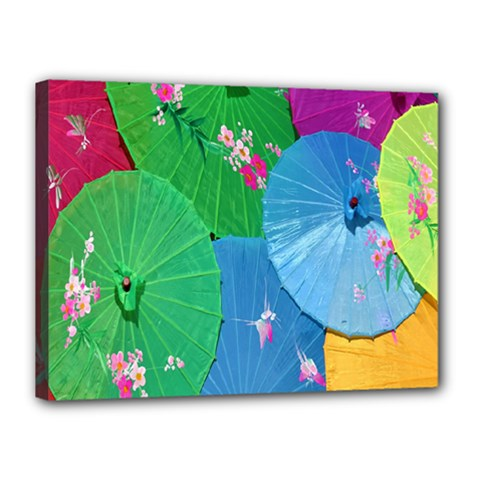 Chinese Umbrellas Screens Colorful Canvas 16  x 12