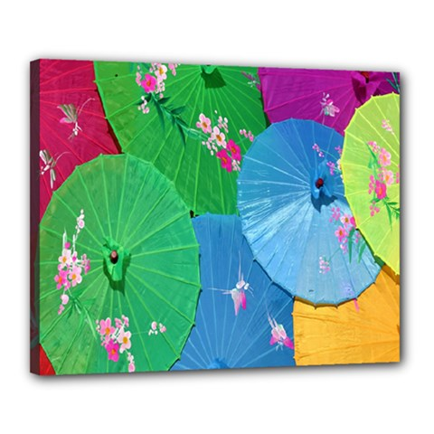 Chinese Umbrellas Screens Colorful Canvas 20  x 16