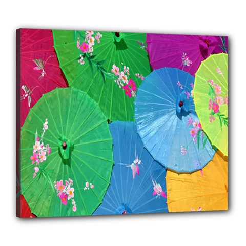 Chinese Umbrellas Screens Colorful Canvas 24  X 20