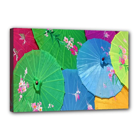 Chinese Umbrellas Screens Colorful Canvas 18  x 12