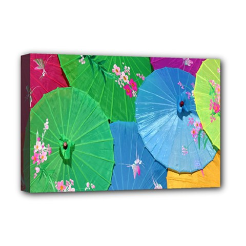Chinese Umbrellas Screens Colorful Deluxe Canvas 18  x 12