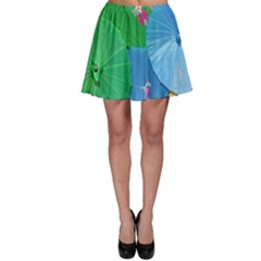Chinese Umbrellas Screens Colorful Skater Skirt