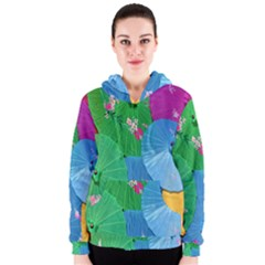 Chinese Umbrellas Screens Colorful Women s Zipper Hoodie