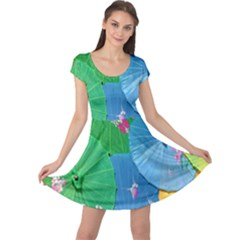Chinese Umbrellas Screens Colorful Cap Sleeve Dresses
