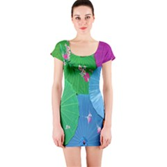 Chinese Umbrellas Screens Colorful Short Sleeve Bodycon Dress