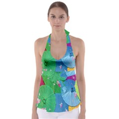 Chinese Umbrellas Screens Colorful Babydoll Tankini Top