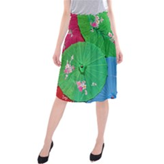Chinese Umbrellas Screens Colorful Midi Beach Skirt