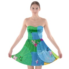 Chinese Umbrellas Screens Colorful Strapless Bra Top Dress