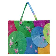 Chinese Umbrellas Screens Colorful Zipper Large Tote Bag