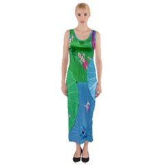 Chinese Umbrellas Screens Colorful Fitted Maxi Dress