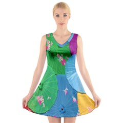 Chinese Umbrellas Screens Colorful V Neck Sleeveless Skater Dress