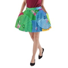 Chinese Umbrellas Screens Colorful A Line Pocket Skirt