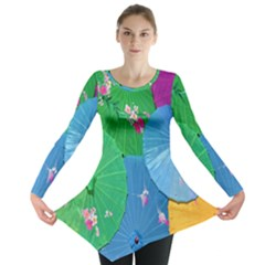 Chinese Umbrellas Screens Colorful Long Sleeve Tunic