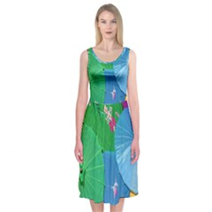 Chinese Umbrellas Screens Colorful Midi Sleeveless Dress