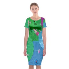 Chinese Umbrellas Screens Colorful Classic Short Sleeve Midi Dress