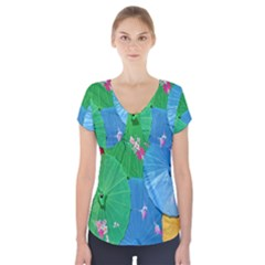 Chinese Umbrellas Screens Colorful Short Sleeve Front Detail Top