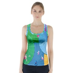 Chinese Umbrellas Screens Colorful Racer Back Sports Top