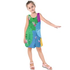 Chinese Umbrellas Screens Colorful Kids  Sleeveless Dress